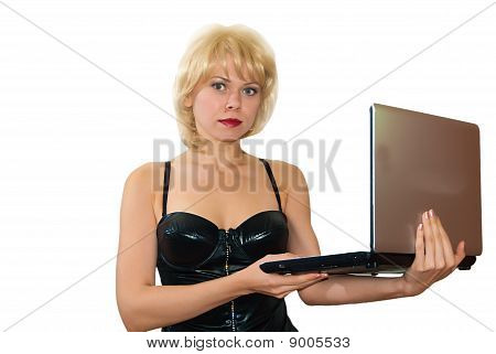 Young Woman With The Laptop