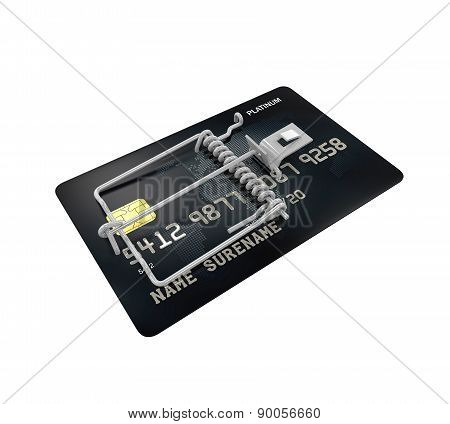 Credit Card Trap on white background. 3D render poster