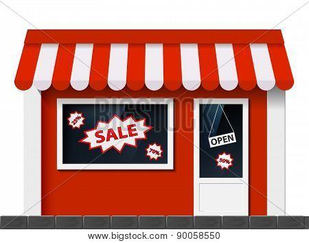 Facade With A Showcase Store.