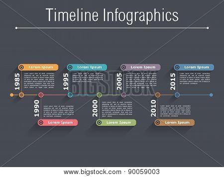 Timeline infographics design template, dark background, vector eps10 illustration poster