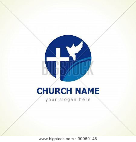 Christian church vector logo. Blue colored circle, crucifix, white flying dove, wave. Religious educational symbol. poster