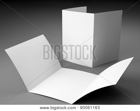 Blank Template Of Trifold Brochure A4 Size On Gray Background
