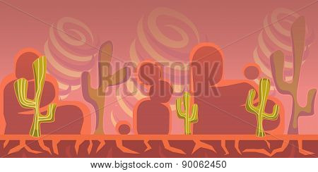 Cartoon Seamless Landscape, Vector Endless Background With Ground, Rocks And Sky Layers