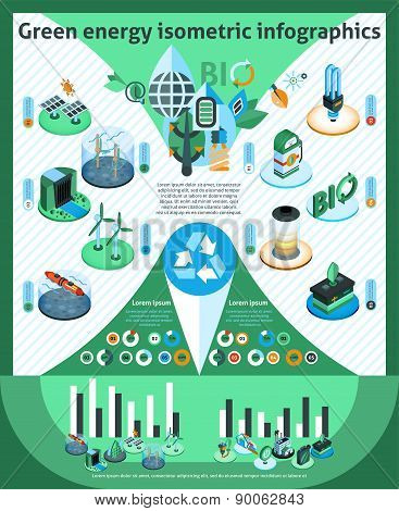 Green Energy Isometric Infographics