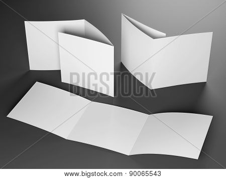 Blank Template Of Trifold Square Brochure On Gray Background