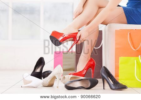 Woman At Shoe Store.