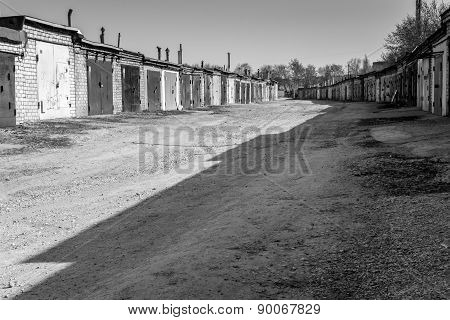 Deserted Garages In Shadow