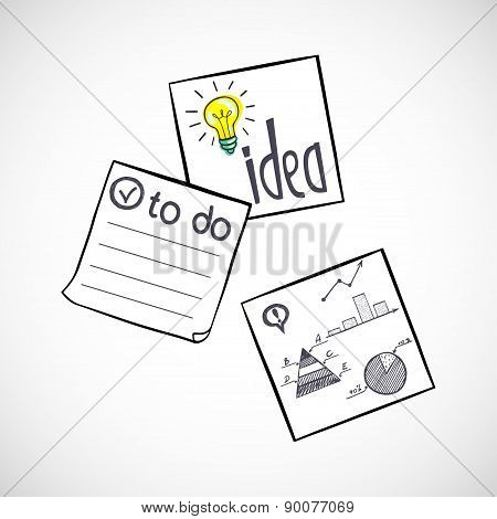 Classic Paper Stickers With Doodle
