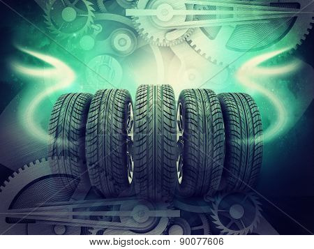 Wheels on colorful abstract background