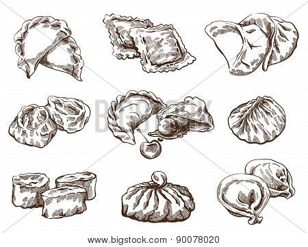 Set of different dumplings