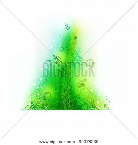 Green Lines Drawing Decorative Element