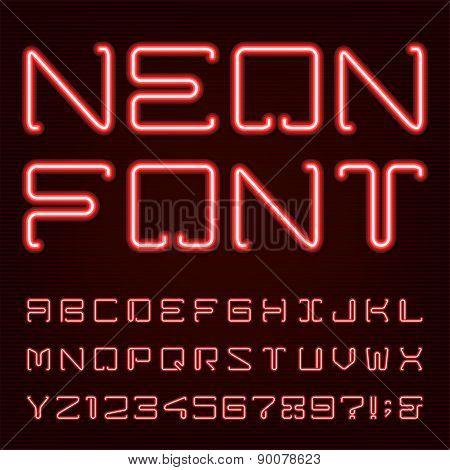 Neon Red Light Alphabet Vector Font.