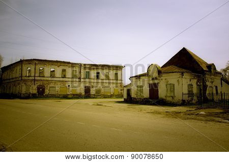 Brick destroyed buildings store in the Russian province