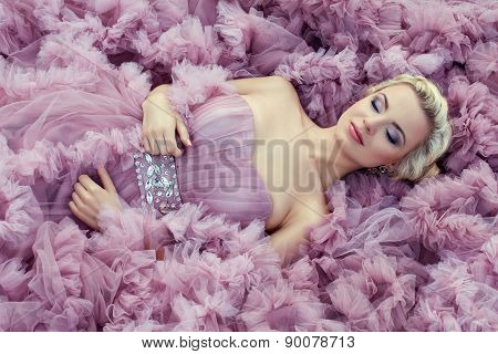 Girl In A Pink Dress Sleeping.