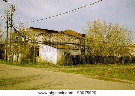 Destroyed building power plant in the Russian province