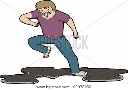 Man Slipping On Oil