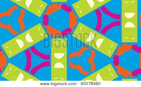 Kaleidoscope Pattern Of Green And Blue Shapes