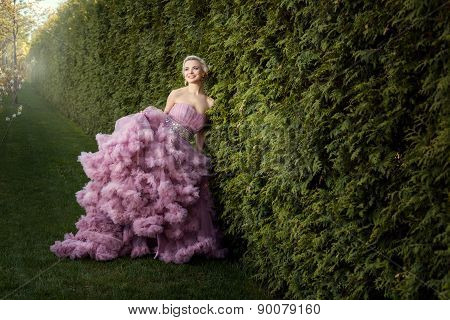 Girl In A Beautiful Pink Dress.