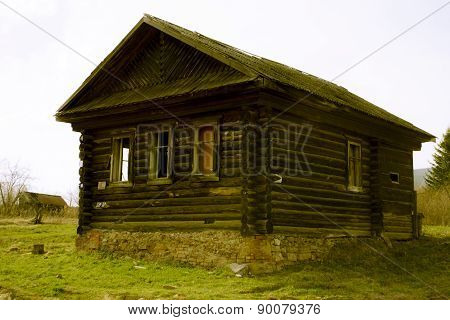 Abandoned wooden house in the Russian village