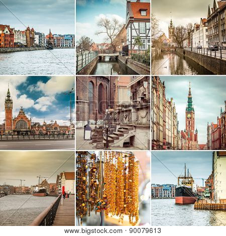 photo collage of beautiful views of Gdansk Poland
