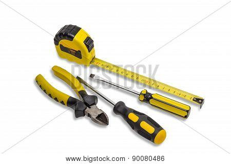 Tape Measure, Nippers And Screwdrivers