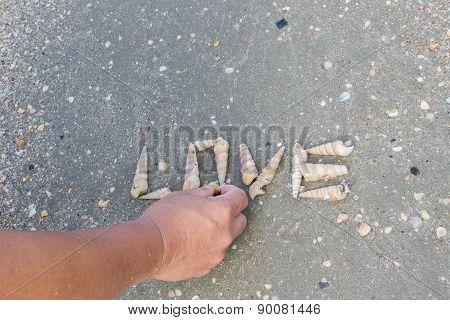 Man Do Love Word With Seashell