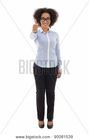 Happy African American Business Woman Thumbs Up Isolated On White