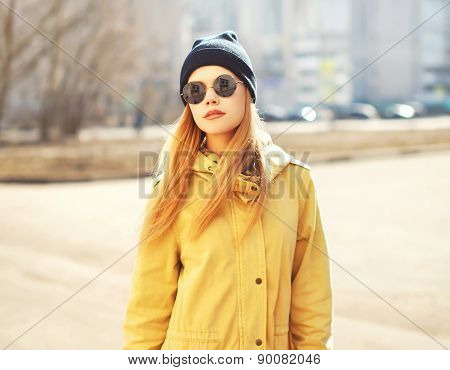 Fashion Portrait Of Pretty Hipster Blonde Girl Outdoors In Sunny Day