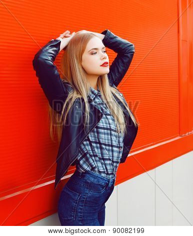 Fashion Portrait Of Sexy Beautiful Slim Blonde Woman Wearing A Rock Black Style Posing Outdoors