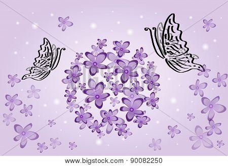 Purple Flowers With Butterflies