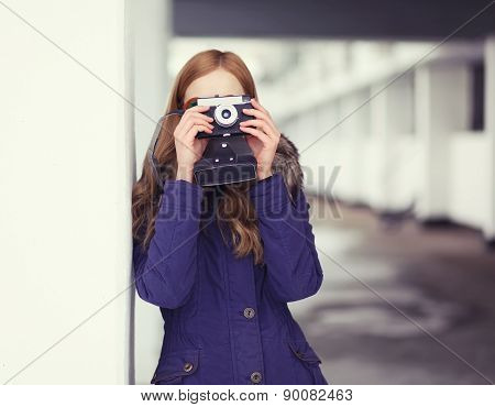 Hipster Girl And Old Vitnage Camera Outdoors