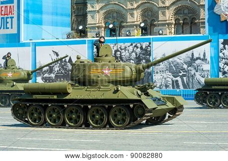 MOSCOW - MAY 7: Tank T34 participates at last rehearsal of the parade dedicated to the 70th anniversary of the victory in the Second World War in Red Square on May 7, 2015 in Moscow