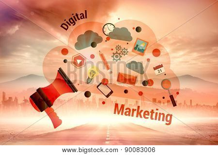 Digital marketing graphic against sun shining over road and city