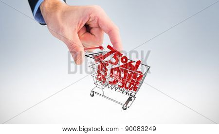 Businessman measuring something with these fingers against white background with vignette