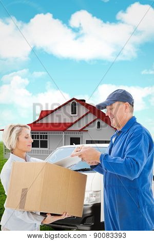 Happy delivery man with customer against blue sky