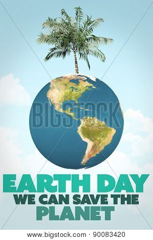 earth day message against blue sky