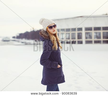 Portrait Of Beautiful Blonde In Urban Winter Style Outdoors