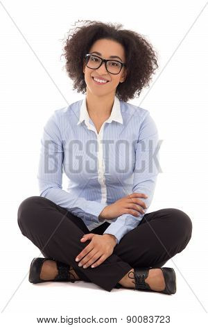 Happy Beautiful African American Business Woman Sitting Isolated On White