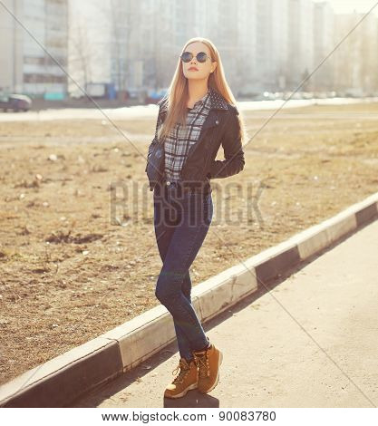 Portrait Of Stylish Pretty Blonde Woman Outdoors In Sunny Day