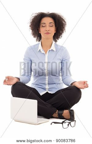 Happy Beautiful African American Business Woman Sitting In Yoga Pose With Laptop Isolated On White