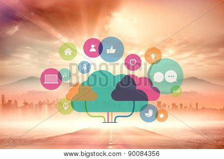 Apps and cloud computing concept against sun shining over road and city
