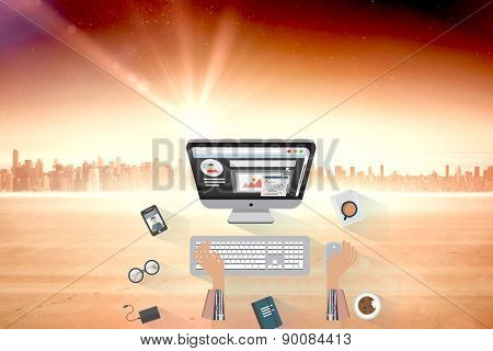 Robotic businessman working on computer against sun shining over city