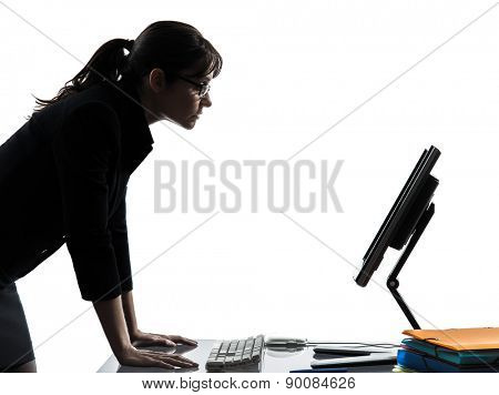 one business woman computer computing serious silhouette studio isolated on white background