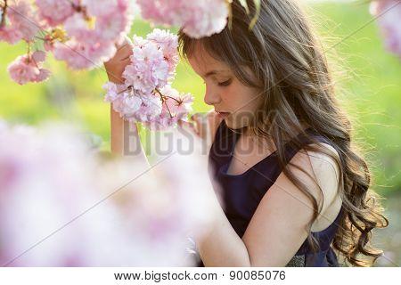 Cute Girl Amid Cherry Flowering