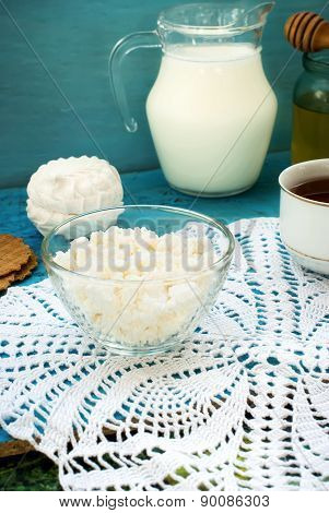 Cottage Cheese With A Cup Of Tea For Breakfast