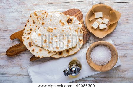 Fried Tortilla With Cheese On Olive Wood Plate