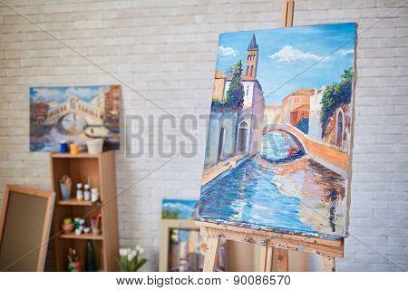 Painting of Venetian street on canvas