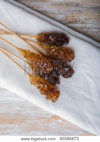 Crystal Brown Rock Sugar Candy On A Stick