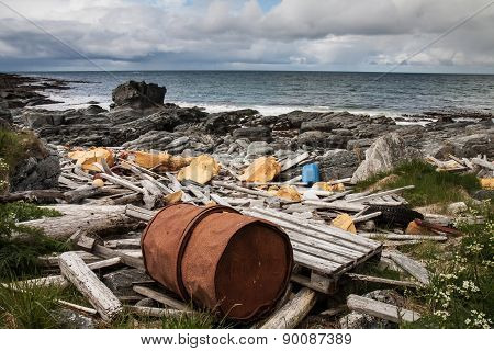garbage and wastes on the beach of Atlantic ocean