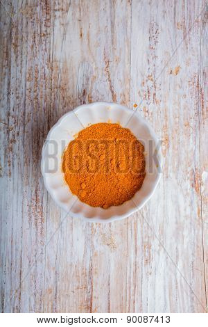 Turmeric Powder In A Bowl On Wooden Table